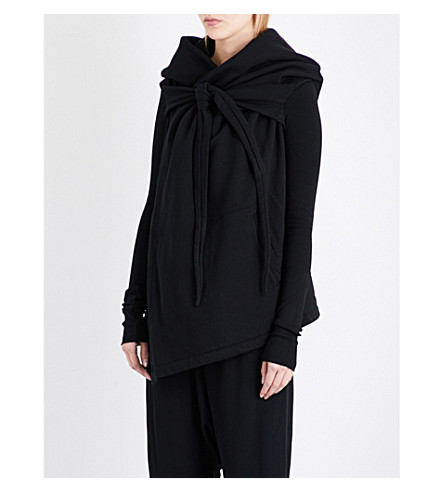 DRKSHDW Oversized draped cotton cape (Black