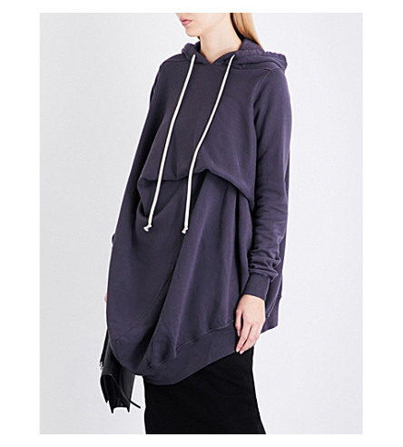 DRKSHDW Twisted cotton-jersey hoody (Plum