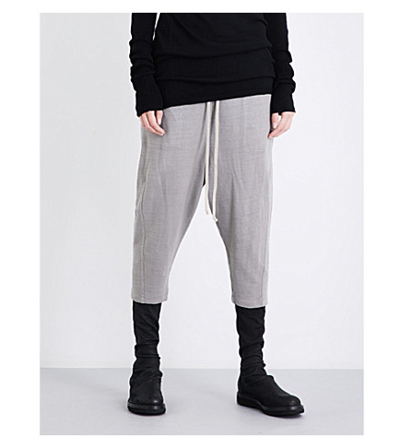DRKSHDW Relaxed-fit cropped mid-rise cotton-jersey jogging bottoms (Grey
