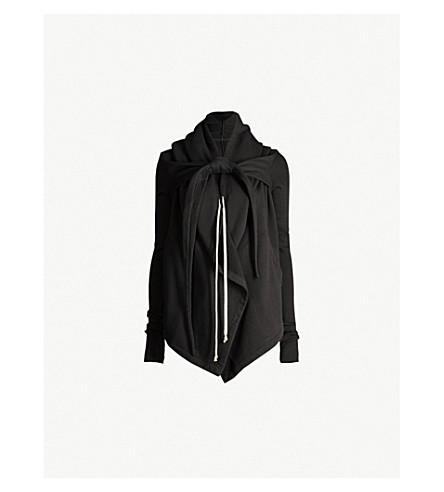 DRKSHDW瀑布下摆平纹针织棉帽衫 (黑色