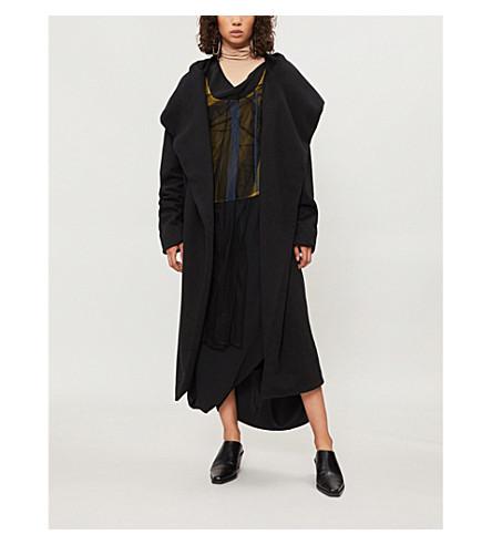 DRKSHDW 围裹式平纹针织棉长袍夹克 (黑色