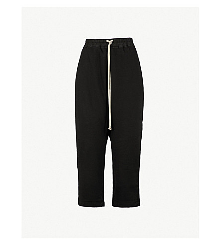DRKSHDW Dropped-crotch high-rise straight cotton-jersey cropped trousers (Black