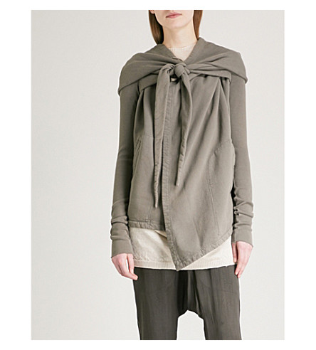 DRKSHDW Pointed-hood wrap-over cotton-jersey hoody (Dna+dust