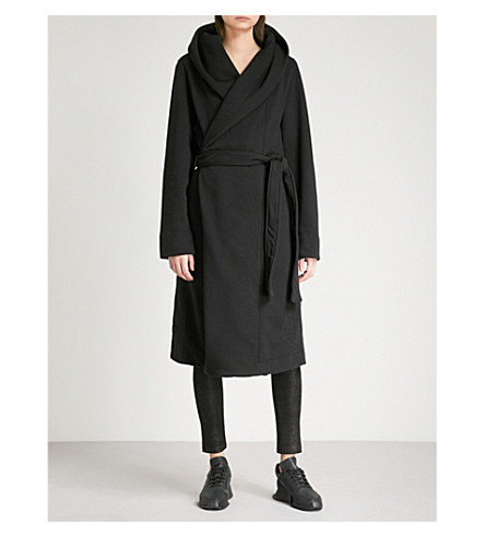 DRKSHDW Draped cotton-jersey robe coat (Black