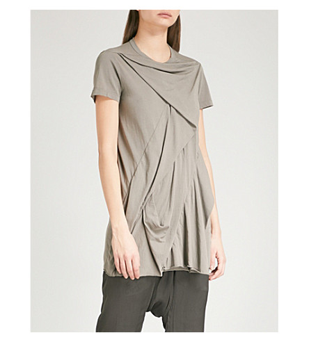 DRKSHDW Ruched asymmetric cotton T-shirt (Dna+dust