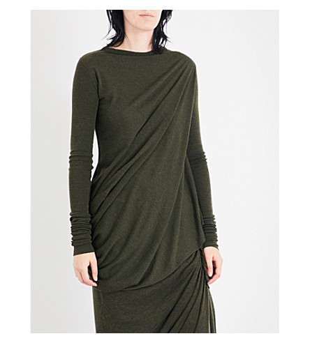LILIES Asymmetric draped jersey top (Forest