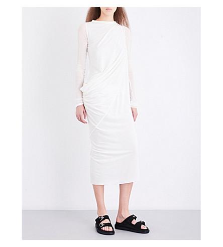 LILIES Asymmetric draped jersey midi dress (Milk
