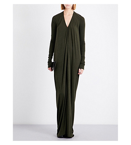 LILIES V-neck knitted maxi dress (Forest