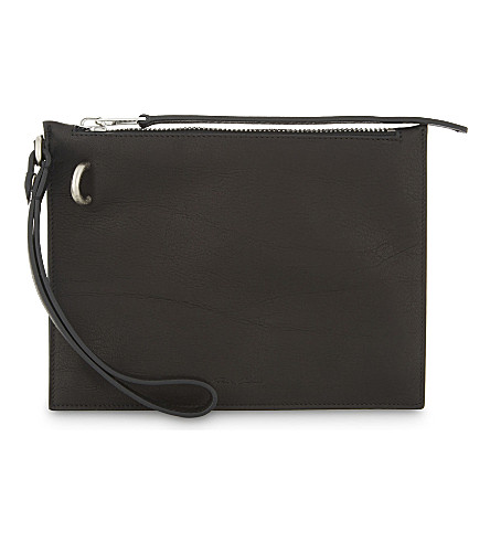 RICK OWENS Grained leather pouch (Black