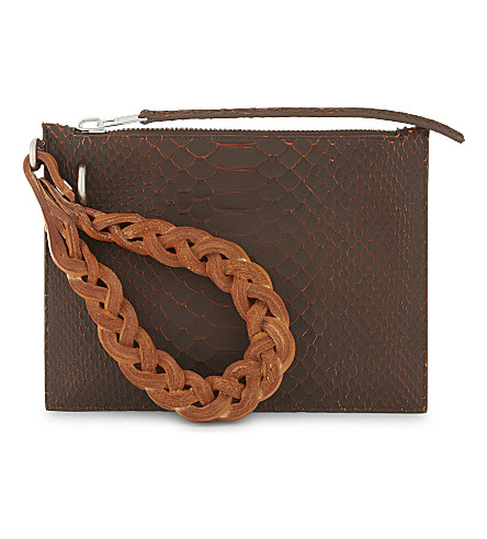 RICK OWENS Python leather pouch (Orange