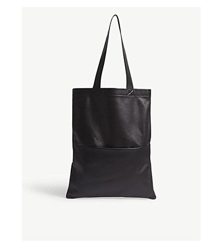 RICK OWENS Sisyphus small leather tote (Black