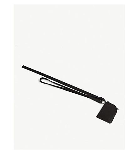 RICK OWENS Leather neck wallet (Black
