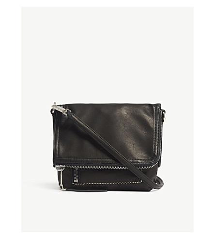 RICK OWENS Foldover leather messenger bag (Black