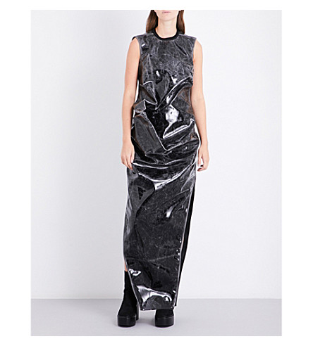 RICK OWENS Draped patent gown (Black