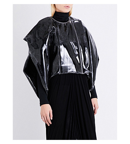RICK OWENS Draped-sleeve oversized faux-patent jacket (Black