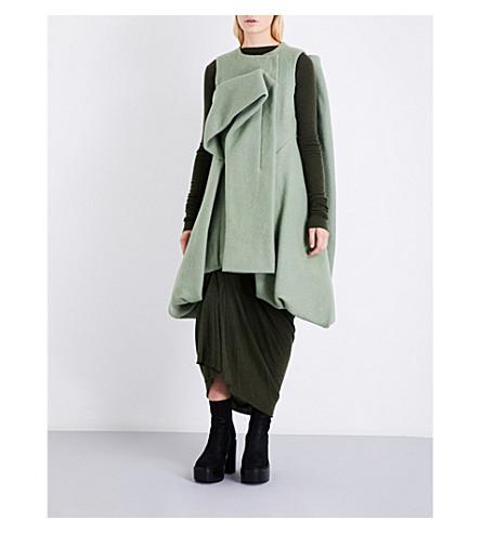 RICK OWENS Draped sleeveless wool-felt cocoon jacket (Acqua