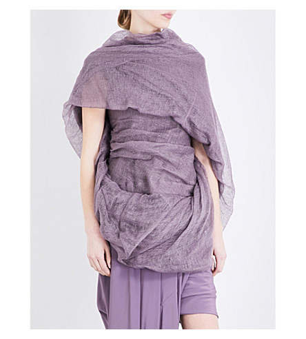 RICK OWENS Garland ruched linen and stretch-cotton top (Mauve