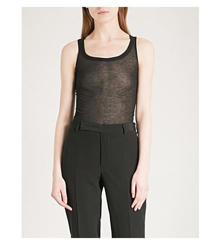 RICK OWENS Semi-sheer cotton-jersey top (Black