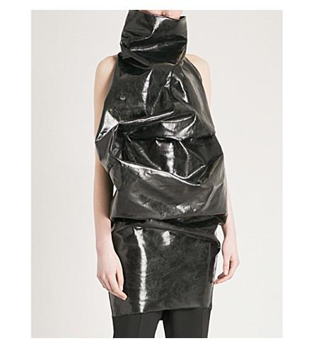 RICK OWENS Asymmetric vinyl-effect cotton-blend mini dress (Black