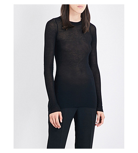 RICK OWENS Sheer rib-knit T-shirt (Black