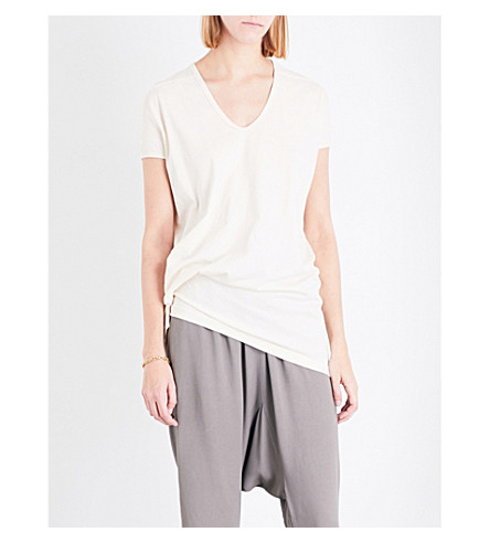 RICK OWENS Gathered cotton-jersey T-shirt (Natural