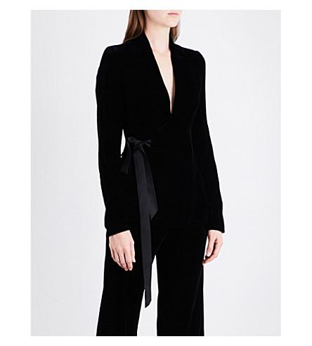 RICK OWENS Wrap-front velvet jacket (Black