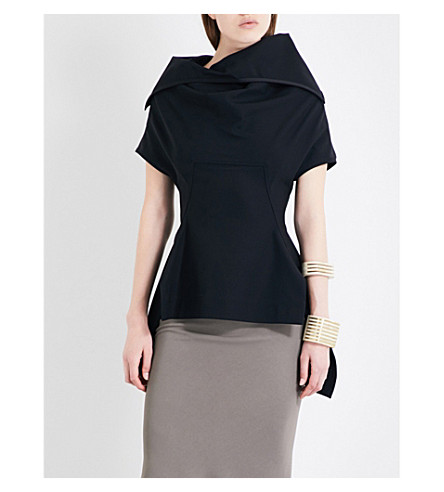 RICK OWENS Judith draped asymmetric top (Black
