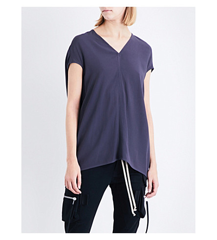 RICK OWENS Floating crepe top (Plum