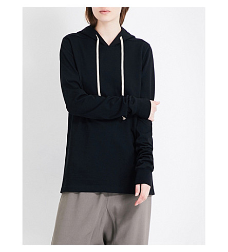 RICK OWENS Pullover cotton-jersey hoody (Black