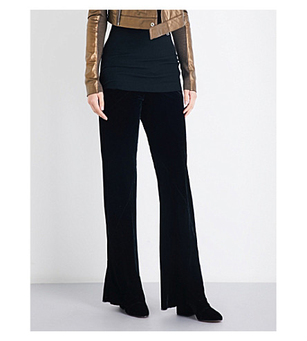 RICK OWENS Bias-cut straight velvet trousers (Black