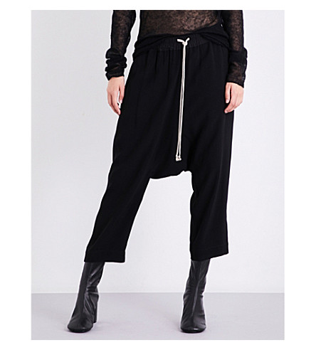 RICK OWENS Austin dropped-crotch crepe trousers (Black