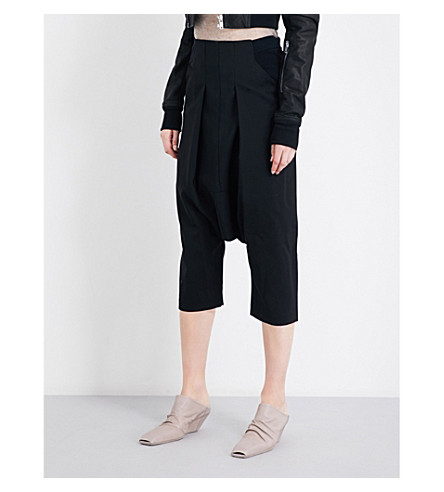 RICK OWENS Cropped stretch-wool trousers (Black
