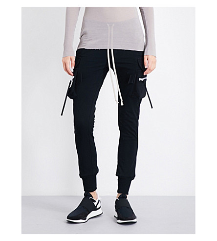 RICK OWENS Cargo cotton-jersey jogging bottoms (Black