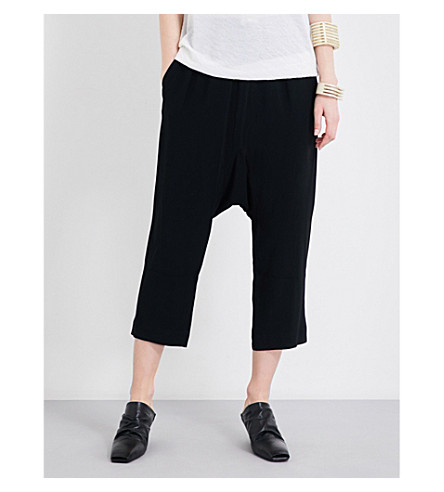 RICK OWENS Drawstring dropped-crotch crepe trousers (Black