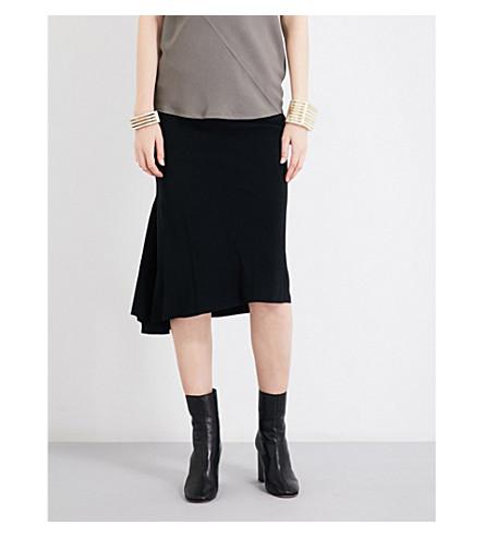 RICK OWENS Flounced crepe midi skirt (Black