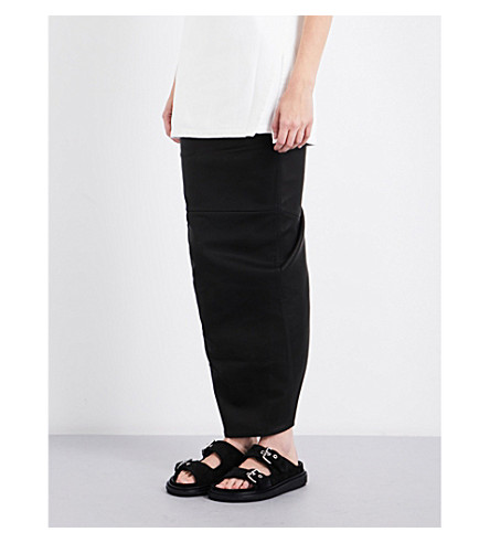 RICK OWENS High-rise leather and cotton skirt (Black