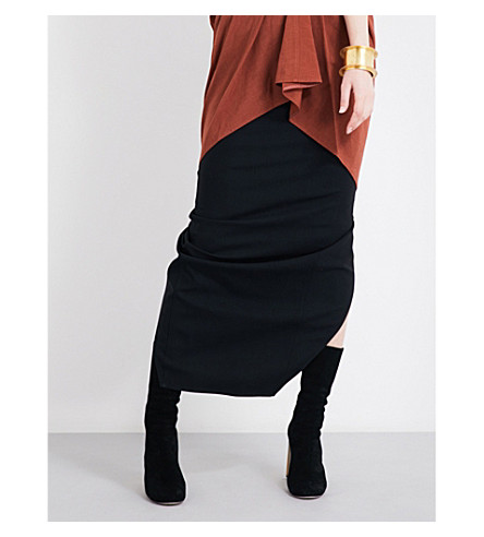 RICK OWENS Pillar crepe midi skirt (Black