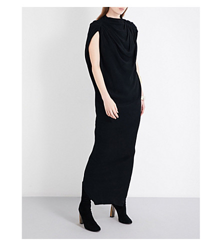 RICK OWENS Draped crepe gown (Black