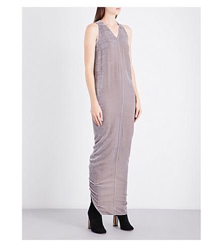 RICK OWENS Moody V-neck velvet gown (Fog