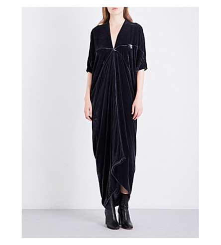 RICK OWENS Kite velvet midi dress (Plum