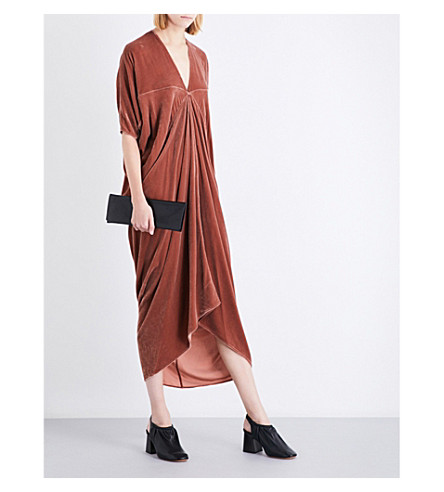 RICK OWENS Kite velvet midi dress (Terra