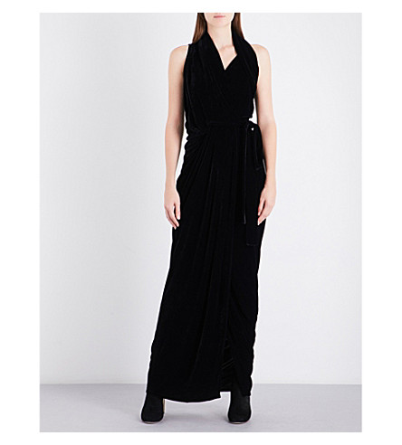 RICK OWENS Limo V-neck draped velvet gown (Black