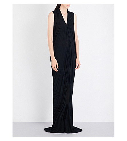 RICK OWENS V-neck draped jersey gown (Black