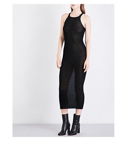 RICK OWENS Fine jersey midi dress (Black