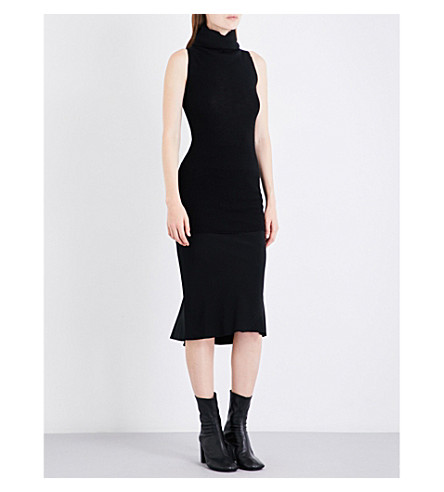 RICK OWENS Turtleneck ribbed-knit wool midi dress (Black