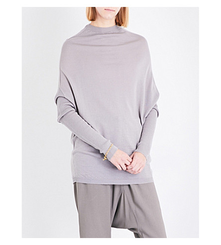 RICK OWENS Dropped-shoulder knitted wool jumper (Fog