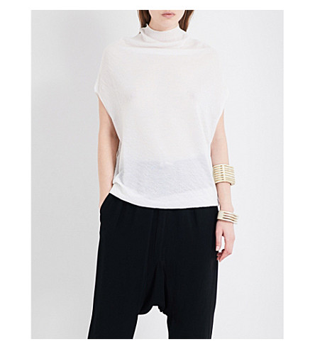 RICK OWENS Dropped-shoulder cashmere top (Milk