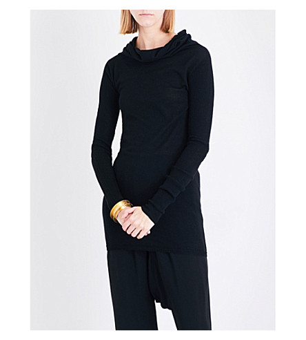 RICK OWENS Dropped-neck knitted wool jumper (Black