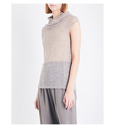 RICK OWENS Draped high-neck alpaca-blend jumper (Fog