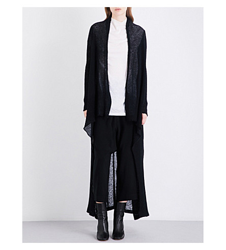 RICK OWENS Long alpaca-blend wrap cardigan (Black